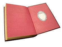 Rotes Vorsatzblatt in einem aufgeschlagenen Buch