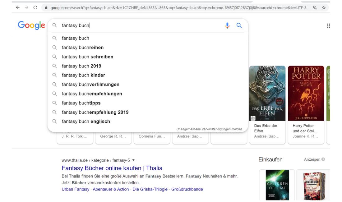 Keyword Resear bei Google Beispiel Suche