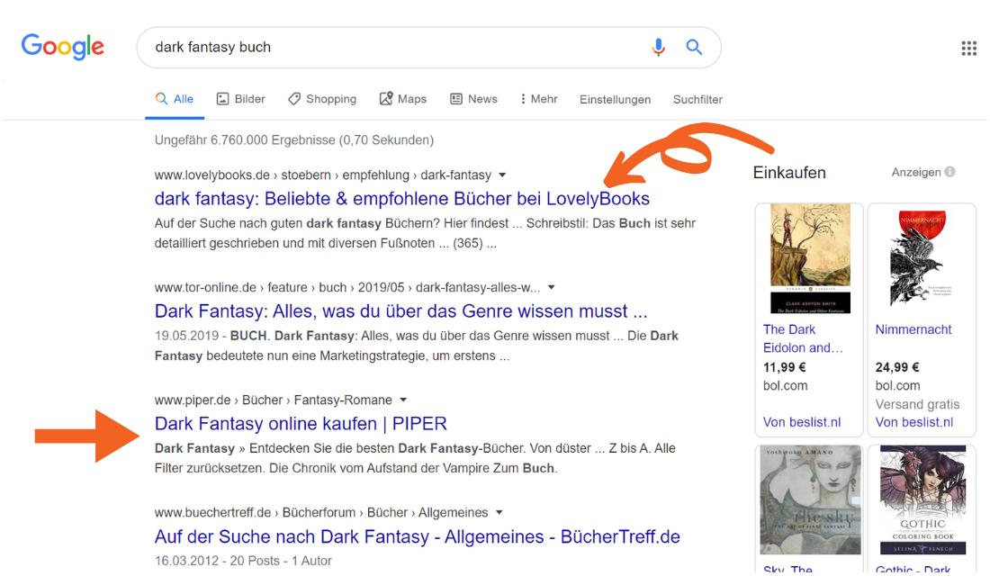 Google Suche Beispiel für einladende Meta-Description mit YOAST SEO