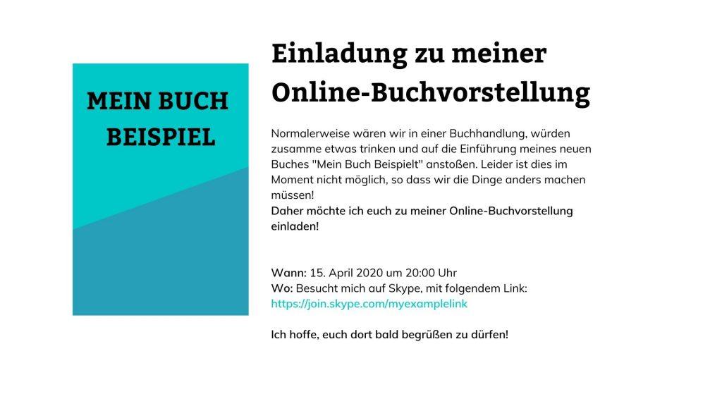 Beispiel einer Einladung zu einer Online-Buchvorstellung