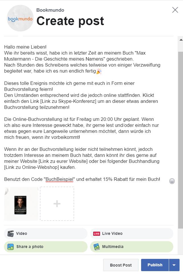 Online-Buchvorstellung per Facebook